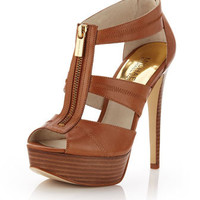 MICHAEL Michael Kors Berkley Leather T-Strap Sandal, Luggage