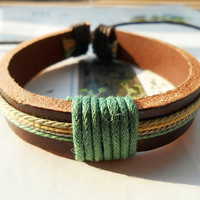 Spring Gift Popular Trend Fashion Nature Brown Leather cuff Colorful Cotton Thread Round Adjustable Wrap Bracelet C-74