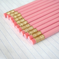 12 imperfect pastel pink pencils. plain pencils for test taking, essay writing, diary entries, and doodling... back to school supplies