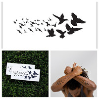 Black Birds  temporary tattoo Set of 2 by Tattify on Etsy