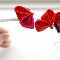 Fuchsia and Red Hearts Kanzashi Headband by cuttlefishlove on Etsy