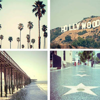 California Print Set, Retro, Hollywood, California Wall Art, Summertime, Palm Trees, Pier, Walk Of Fame, 8x10 Print Set