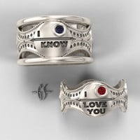 His and Hers Star Wars Ring Set - Sterling Silver with Rubies and Sapphire