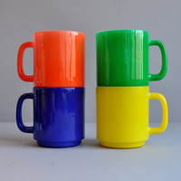 Rainbow Milk Glass Mugs - Set of 4