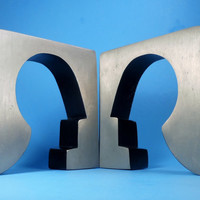 Vintage Modern Industrial Metal Bookends