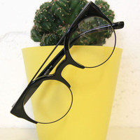 Half Frame Round Glasses Black - THE WHITEPEPPER