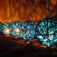 Blue Rattan Ball Patio Party String Lights (20/set)