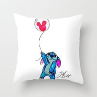 Stitch doesn&#x27;t want to leave Disney World Throw Pillow by Trinity Bennett | Society6