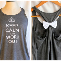 Grey Keep Calm and Work Out - LARGE