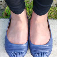 Goalie Light Navy Blue Ruched Vegan Ballerina Flats