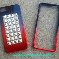 Studded iPhone 5 Case Black &amp; Red Chrome Ombre Hard Case -Silver, Black or Gold Studs-