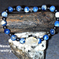 "Bracelet for Everyone : Sodalite, Hematie and Citrine ""Calm and Prosperous"""