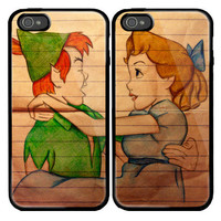 Peter Pan and Wendy Custom couple Case for iPhone 4 and iPhone 5 case.