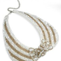 Gold and White Crystal Bead Jewel Collar