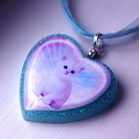 You&#x27;re In My Heart - Cat Heart Necklace (Sweet Panda Creations + Funky Catsterz) from Funky Catsterz