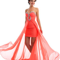 Mac Duggal Prom 2013 - Strapless Coral Chiffon Gown - Unique Vintage - Prom dresses, retro dresses, retro swimsuits.