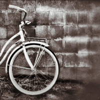 4x4 Square Print Vintage Bicycle Schwinn Black by SkyeZPhotography