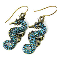 Rhinestone Seahorse Earrings, Blue, Summer Jewelry, Antiqued Brass, Vintage Inspired, Sea Creature, Animal Jewelry, Sparkle