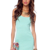 Scalloped Edge Dress in Mint :: tobi