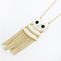 The White Owl Gold and White Necklace