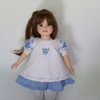 Blue Gingham Dress with White Pinafore for baby dolls 14 inches