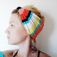 The Turban Headband In Aqua Coral and Yellow by SevenWhiteRabbits