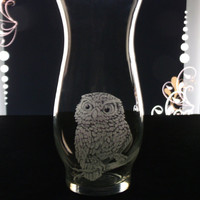 Owl glass hurrican vase, hand engraved, mother&#x27;s day , gift ideas, home decorm owl decor