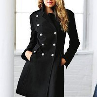Wool Military Lace-up Coat