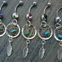 CHOOSE 1 dreamcatcher belly ring turquoise and amethyst  in native american tribal boho hippie belly dancer and hipster style