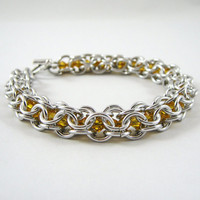 Swarovski Bracelet Chainmail  Sunflower Yellow by HCJewelrybyRose