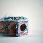 Denim and Vintage Lace Soft Wrist Cuff - Bracelet - Upcycle
