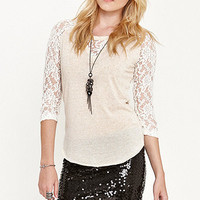 Kirra Lace Sleeve Raglan Top at PacSun.com