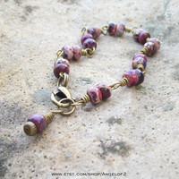 Determination-Imperial Jasper Wire Wrapped Link Bracelet