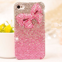 Shiny Pink Bowknot Rhinestone Handmade Hard Cover Case For Iphone 4/4s/5