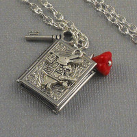 Silver Book Shaped, Bunny Locket Silver Key, Red Flower, Hare, Wonderland Locket Necklace-  WILD RABBIT