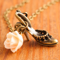 Shoe Necklace  high heel necklace shoes necklace by MegusAttic