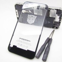 Amazon.com: [Aftermarket Product] Autobots Transformer Back Glass Housing Black Transparent Clear Replacement Battery Cover Includes Free Tool and Camera Ring for iPhone 4s (free Newlifestart Back Case): Cell Phones &amp; Accessories