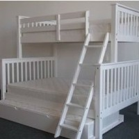 Amazon.com: Bedz King Bunk Bed with Twin Trundle, Twin Over Full Mission Style, White: Home &amp; Kitchen