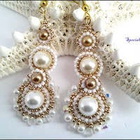 Metallic Gold White Pearl Swarovski Crystal Beaded Wedding Earrings