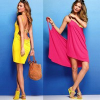 6 Colors Available Cute Multivariant Style Backless Beach Dress