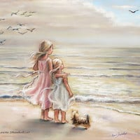 "beach, Girls, sisters, Nursery art print, sea, pastel, ""The Ocean's Lullaby"" Laurie Shanholtzer"