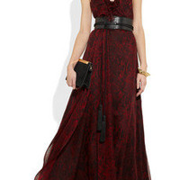 Saint Laurent|Ruffled snake-print silk-chiffon gown|NET-A-PORTER.COM
