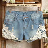 Sweet Hollow-out Torn Burrs Cowboy Shorts Hot Pants