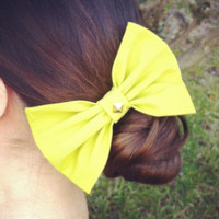 Lime Green Studded Hair Bow