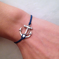 Navy Blue CORD With Anchor Wish Bracelet by pier7craft on Etsy