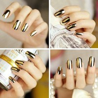 Wisedeal 2* Fashion Super Star Nail Art Polish Gold and Silver Metallic Foil Sticker Patch Wraps Tips 24 Pcs for Women Girls Wife As Valenti