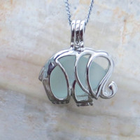 Aqua Sea Glass  Elephant Necklace Locket Frosted Pale Rare Genuine