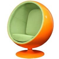 LexMod Eero Aarnio Style Ball Chair in Orange Exterior with Green Interior