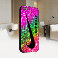 Nike Just Do It  Rainbow Sparkle Glitter Printed - Photo on Hard Cover For Iphone 4 / 4S Case, iPhone 5 Case - Black, White, Clear