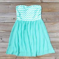 Chevrons & Chiffon Dress in Mint, Sweet Women's Bohemian Clothing